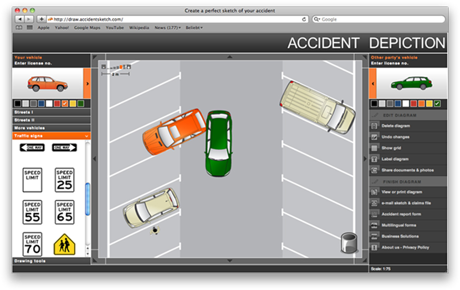 Draw the diagram of your accident online and freewww.accidentsketch.com